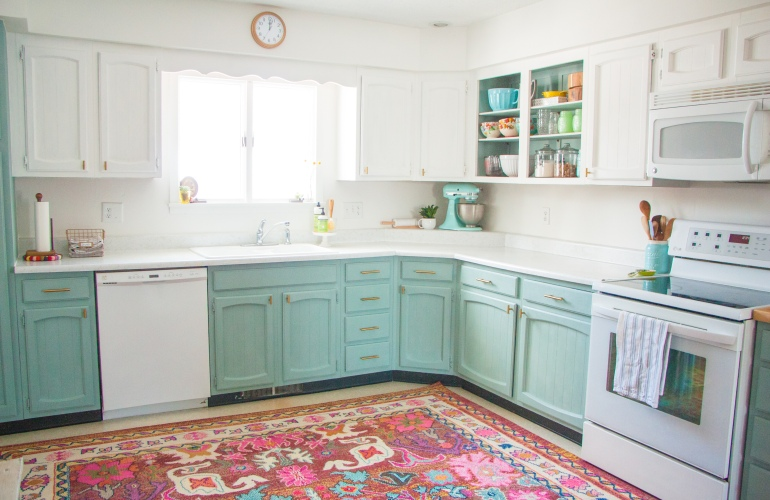 before after a bright affordable diy kitchen update - Diy Kitchen
