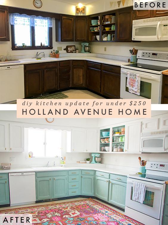 kitchen feature pinterest before  u0026 after  a bright affordable diy kitchen update  rh   hollandavenuehome com