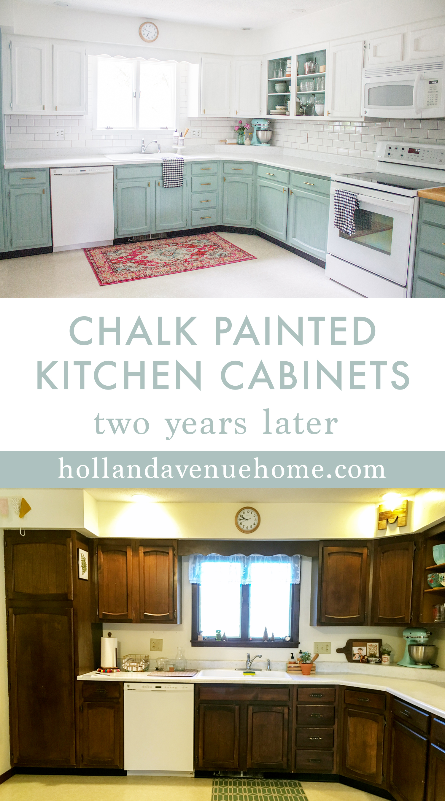 & Chalk Painted Kitchen Cabinets Two Years Later